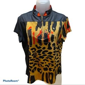 Jamie Sadock Leopard Print Golf Top Size M